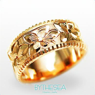 オーダーメイドリング 結婚指輪 指輪 刻印無料 PF8D-D リング 誕生石ハワイアンジュエリー ハワジュ マリッジリング 大きいサイズ 刻印無料 メンズ 誕生石 レディース ミリオンベル ネーム 送料無料