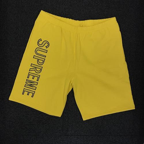 Supreme シュプリーム18SS LEG EMBROIDERY SWEATSHORTスウェット ハーフパンツイエロー サイズ:L 【1807】【0724】【新古品】