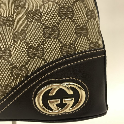 4ad705c48 ... GUCCI Gucci GG double G one shoulder bag handbag gold metal fittings  beige camel system brown ...