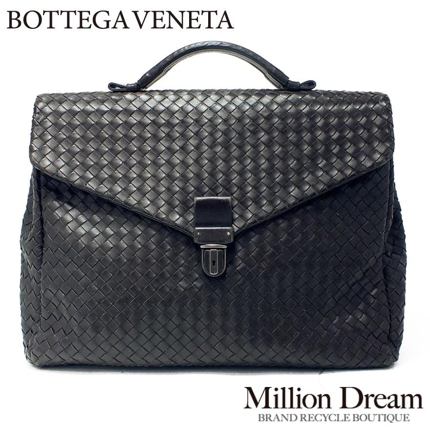 BOTTEGA VENETA ボッテガヴェネタイントレチャートブリーフケース 113095ダークブラウン中古 / ビジネスバッグ / 送料無料