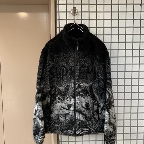 Supreme シュプリーム 19SS Wolf Fleece Jacket wolf fleece jacket color: Black wolf pattern size: small