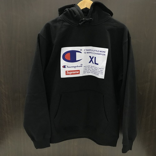 Supreme X Champion シュプリーム X champion 18AW Label Hooded Sweatshirt  collaboration parka color  Black size  L ba0df77cab