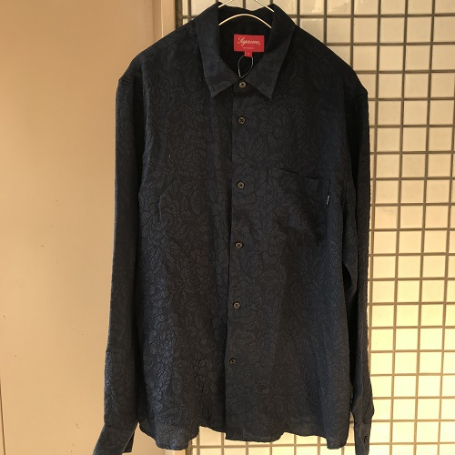 Supreme 18SSFloral Silk Jacquard Shirtフローラルシルクジャガード長袖シャツカラー:ネイビー サイズ:L【新品】【1903】【0318】【18SS】【Supreme】