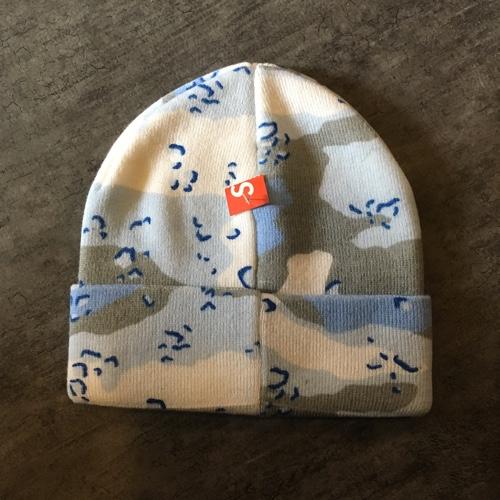 95b4af2b8c8 SUPREME シュプリーム 14AW Printed Camo Beanie print duck beanie box logo camo  knit hat Dessert Camo blue duck