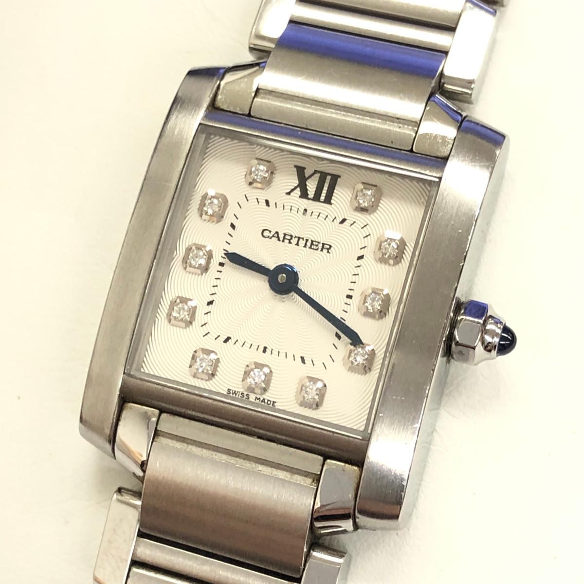 Cartier カルティエタンクフランセーズSMクォーツ腕時計 レディースウォッチRef.WE110006 / 321711Pダイヤ SS(ステンレススチール)カラー:白文字盤×シルバー【送料無料】【稼動品】