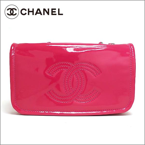 CHANEL シャネル クルーズエナメル ダブルチェーンショルダーバッグA49863 ピンク 中古 未使用 送料無料