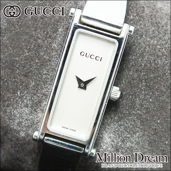 GUCCI グッチ 腕時計レディースウォッチ 1500Lホワイト文字盤 シルバー中古