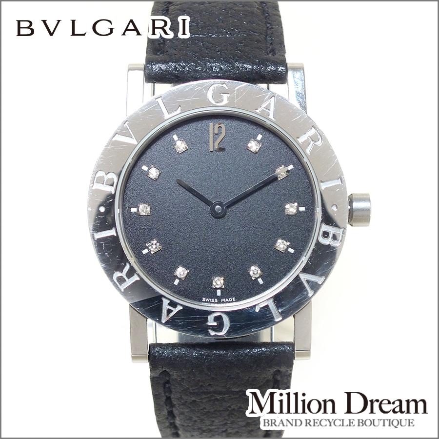 BVLGARI ブルガリクォーツ ダイヤインデックスBB30 SLD Ref:BB30SL18シルバー ブラック ステンレススチール送料無料 腕時計 【中古】