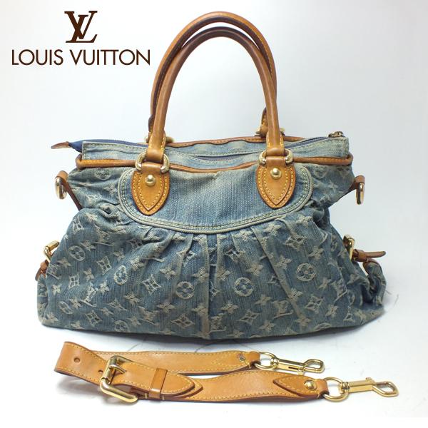 LOUIS VUITTON ルイヴィトンモノグラム デニムネオ カヴィMM M95349 ブルー 2wayショルダー ストラップ付中古 未使用 送料無料 バッグ
