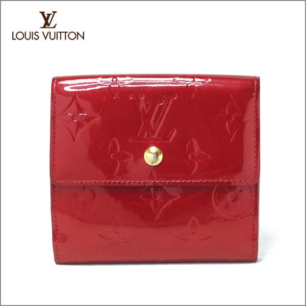 LOUIS VUITTON ルイヴィトンモノグラム ヴェルニ 財布 ポルトフォイユ・エリーズ M93576ポムダール ルージュ レッド 赤Wホック 二つ折り 送料無料 【中古】