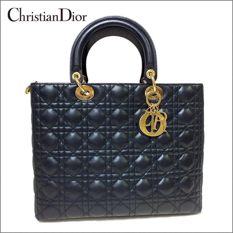 Christian Diorクリスチャン ディオールカナージュブラック ゴールド金具ハンドバッグ 【中古】