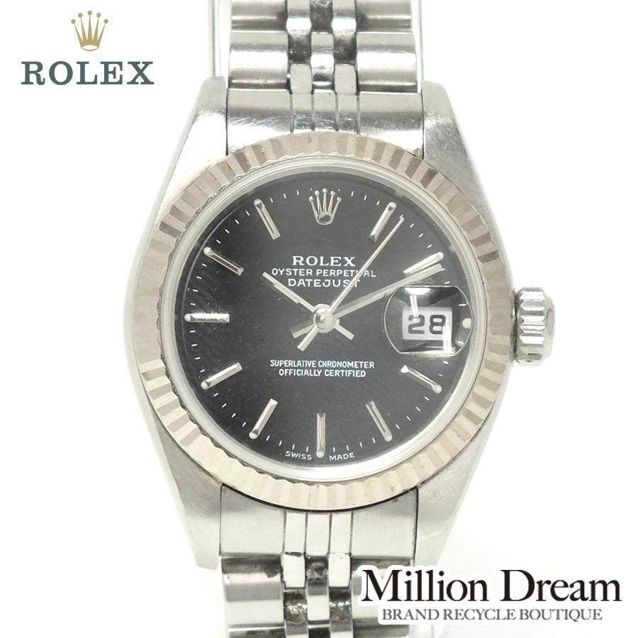 ROLEX ロレックスレディースデイトジャスト 79174A番 1998年製ブラック文字盤 自動巻き中古 時計 送料無料