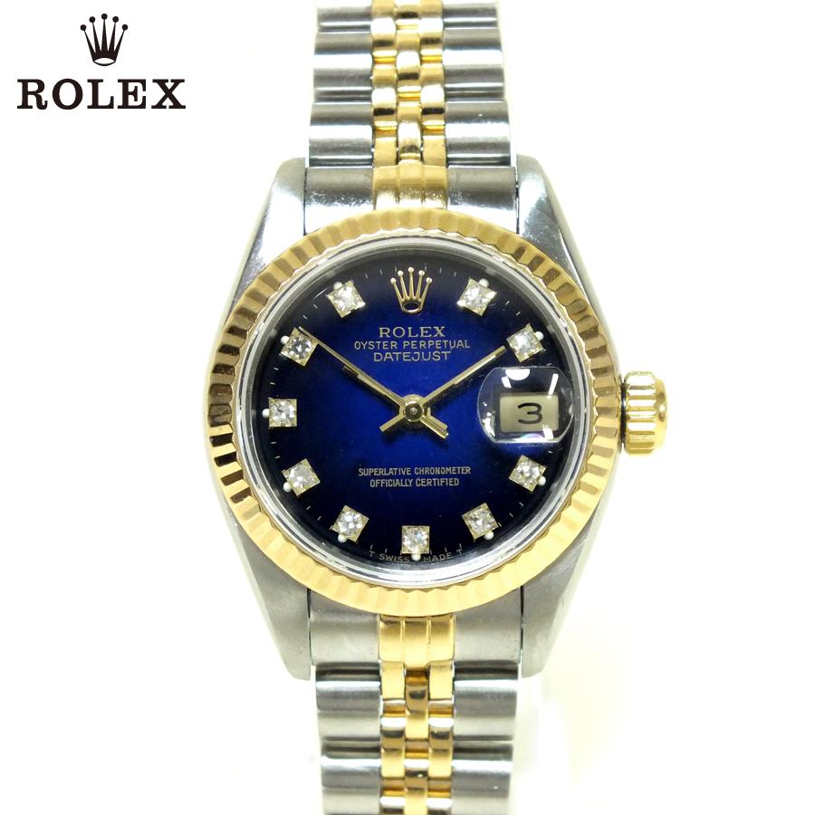ROLEX ロレックスデイトジャスト Ref:69173GX番(1991年製)ブルー 文字盤 ( ブルーグラデーション )10Pダイヤステンレススティール ゴールド中古 送料無料 腕時計