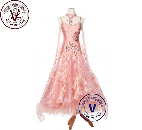 ■ヴィーナスダンスウェア(VENUS DANCEWEAR)Misty Rose Smooth Foxtrot Waltz Ballroom スタンダード コンペティション 女性 ドレス・■(社交ダンス 衣装 ウェア ドレス トップス スカート シューズ ダンス トップス 服 パンツ ドレス)