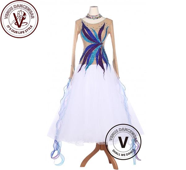 ■ヴィーナスダンスウェア(VENUS DANCEWEAR)白色 美し色 スタンダード 滑らかな タンゴ ワルツ 競技用 ボールルーム ドレス・■(社交ダンス 衣装 ウェア ドレス トップス スカート シューズ ダンス トップス 服 パンツ ドレス)