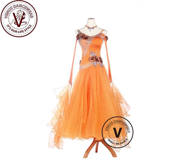 ■ヴィーナスダンスウェア(VENUS DANCEWEAR)オレンジライクラ ボールルーム ワルツ タンゴ スタンダード コンペティションドレス・■(社交ダンス 衣装 ウェア ドレス トップス スカート シューズ ダンス トップス 服 パンツ ドレス)