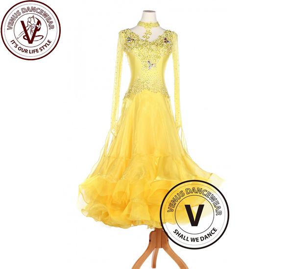 ■ヴィーナスダンスウェア(VENUS DANCEWEAR)イエロー ボールルーム ワルツ スムース タンゴ スタンダード コンペティションドレス・■(社交ダンス 衣装 ウェア ドレス トップス スカート シューズ ダンス トップス 服 パンツ ドレス)