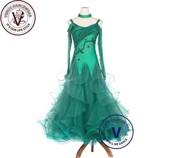 ?ヴィーナスダンスウェア(VENUS DANCEWEAR)グリーンライクラ ワルツ スタンダード タンゴ ボールルーム 競技用ドレス・?(社交ダンス 衣装 ウェア ドレス トップス スカート シューズ ダンス トップス 服 パンツ ドレス)