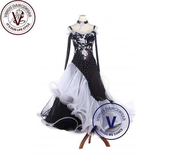 ?ヴィーナスダンスウェア(VENUS DANCEWEAR)ブラックライク ワルツ スタンダード タンゴ ボールルーム 競技用ドレス・?(社交ダンス 衣装 ウェア ドレス トップス スカート シューズ ダンス トップス 服 パンツ ドレス)
