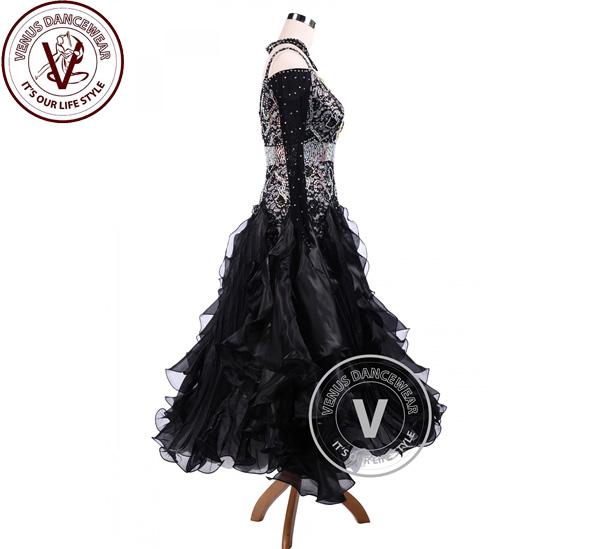 ■ヴィーナスダンスウェア(VENUS DANCEWEAR)ブライト・ブラック・ ワルツ ・ タンゴ ・コンペティション・ ボールルーム ・ダンス・ドレス・■(社交ダンス 衣装 ウェア ドレス トップス スカート シューズ ダンス トップス 服 パンツ ドレス)