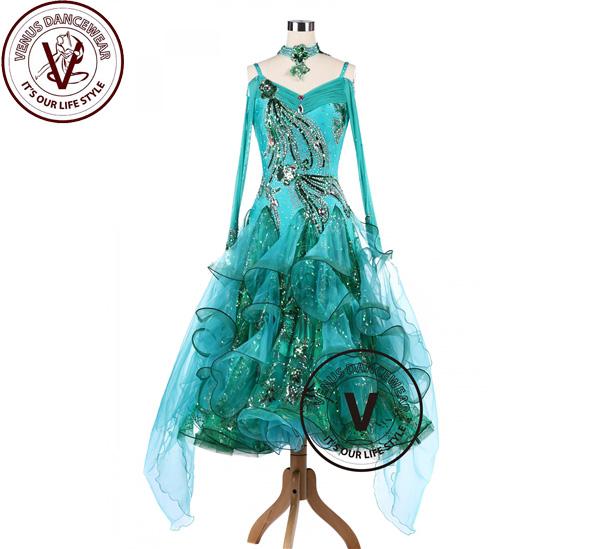 ■ヴィーナスダンスウェア(VENUS DANCEWEAR)エメラルド ボールルーム Tango Waltz Competition Dancing Dress・■(社交ダンス 衣装 ウェア ドレス トップス スカート シューズ ダンス トップス 服 パンツ ドレス)