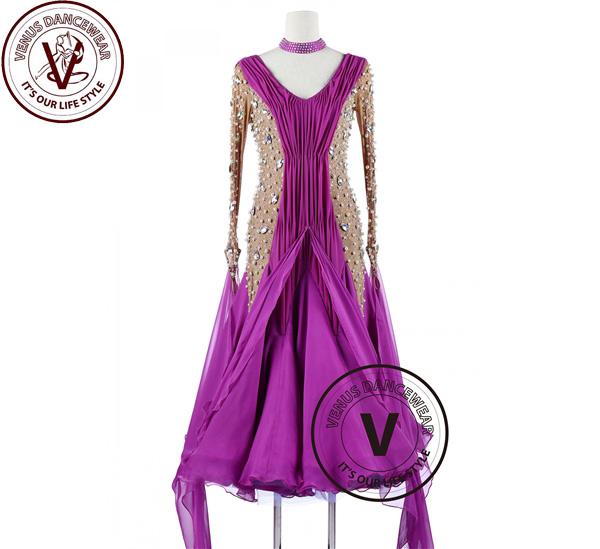 ■ヴィーナスダンスウェア(VENUS DANCEWEAR)紫 オーキッド真珠競技用Foxtrot ワルツ ダンスドレス・■(社交ダンス 衣装 ウェア ドレス トップス スカート シューズ ダンス トップス 服 パンツ ドレス)