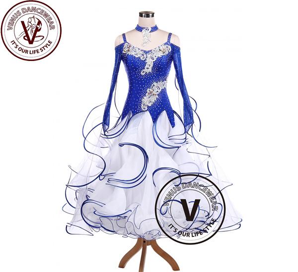 ■ヴィーナスダンスウェア(VENUS DANCEWEAR)ブルースプレー ボールルーム タンゴ 競技用ダンスドレス・■(社交ダンス 衣装 ウェア ドレス トップス スカート シューズ ダンス トップス 服 パンツ ドレス)