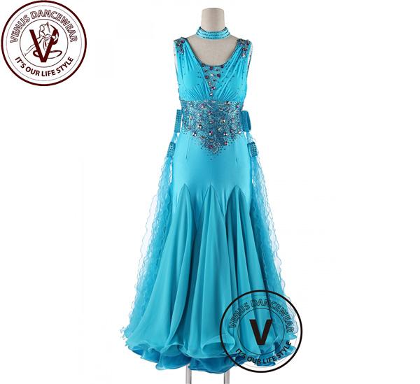■ヴィーナスダンスウェア(VENUS DANCEWEAR)ブライトターコイズ コンクール スイングダンスドレス・■(社交ダンス 衣装 ウェア ドレス トップス スカート シューズ ダンス トップス 服 パンツ ドレス)