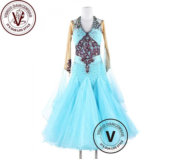 ■ヴィーナスダンスウェア(VENUS DANCEWEAR)BabyBlueスムース ワルツ タンゴ クイックステップ女性競技大会 ダンスドレス・■(社交ダンス 衣装 ウェア ドレス トップス スカート シューズ ダンス トップス 服 パンツ ドレス)