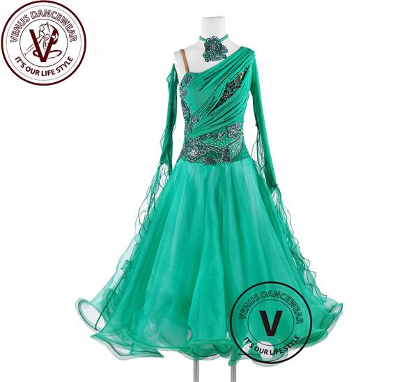 ■ヴィーナスダンスウェア(VENUS DANCEWEAR)グリーンレイク スタンダード ワルツ タンゴ コンクール ダンスドレス・■(社交ダンス 衣装 ウェア ドレス トップス スカート シューズ ダンス トップス 服 パンツ ドレス)