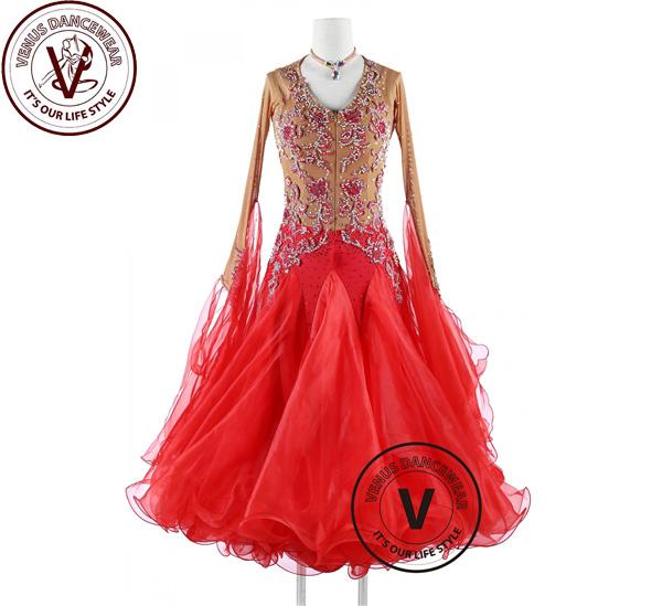 ■ヴィーナスダンスウェア(VENUS DANCEWEAR)スカーレットレッド スタンダード Foxtrot Waltzクイックステップドレス・■(社交ダンス 衣装 ウェア ドレス トップス スカート シューズ ダンス トップス 服 パンツ ドレス)