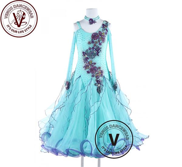 ■ヴィーナスダンスウェア(VENUS DANCEWEAR)スプリングブルー スタンダード スムース ワルツ タンゴ ダンスドレス・■(社交ダンス 衣装 ウェア ドレス トップス スカート シューズ ダンス トップス 服 パンツ ドレス)