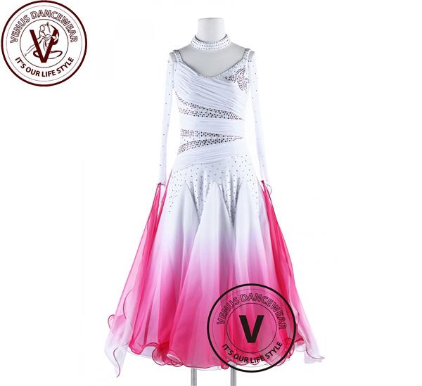 ■ヴィーナスダンスウェア(VENUS DANCEWEAR)ローズグラデーションカラー スタンダード ワルツ スムーズダンスドレス・■(社交ダンス 衣装 ウェア ドレス トップス スカート シューズ ダンス トップス 服 パンツ ドレス)