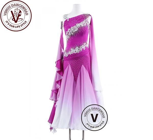 ■ヴィーナスダンスウェア(VENUS DANCEWEAR)オーキッズグラデーションスムース ワルツ フォックストロットクイックステップ女性レース ドレス・■(社交ダンス 衣装 ウェア ドレス トップス スカート シューズ ダンス トップス 服 パンツ ドレス)