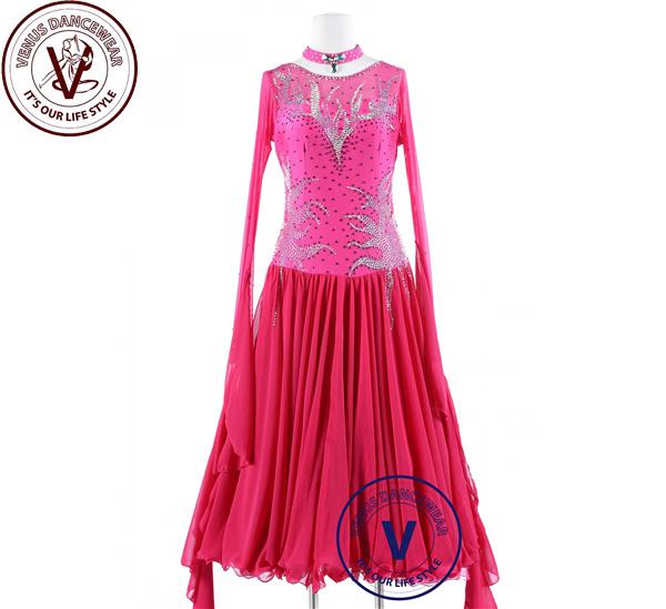 ■ヴィーナスダンスウェア(VENUS DANCEWEAR)ピンクアイス スタンダード スムーズフォックストロット ワルツ クイックステップドレス・■(社交ダンス 衣装 ウェア ドレス トップス スカート シューズ ダンス トップス 服 パンツ ドレス)