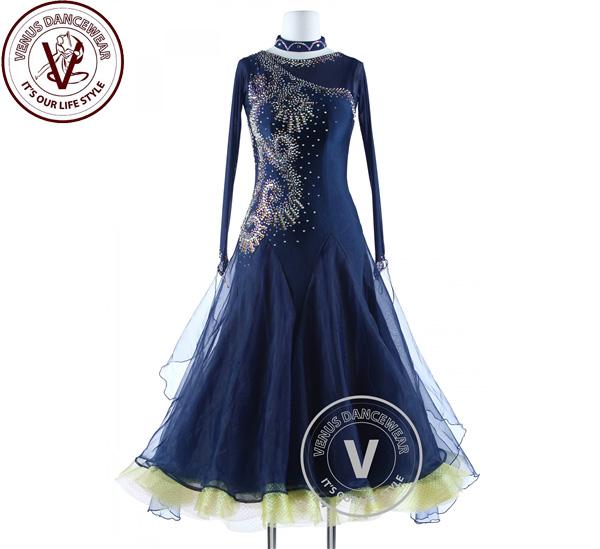 ■ヴィーナスダンスウェア(VENUS DANCEWEAR)ネイビーブルー・ラグジュアリーコンペティションFoxtrot Waltz Quickstep Dress・■(社交ダンス 衣装 ウェア ドレス トップス スカート シューズ ダンス トップス 服 パンツ ドレス)