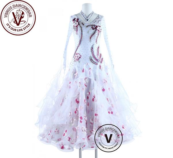 ■ヴィーナスダンスウェア(VENUS DANCEWEAR)さくら桜 スタンダード ボールルーム 競技用ダンスドレス・■(社交ダンス 衣装 ウェア ドレス トップス スカート シューズ ダンス トップス 服 パンツ ドレス)