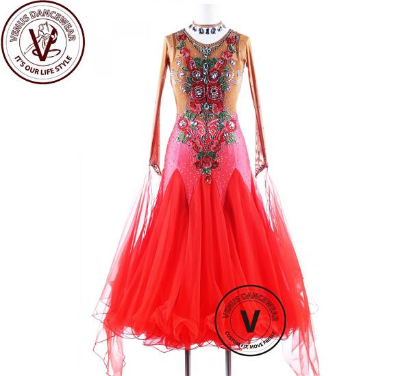 ■ヴィーナスダンスウェア(VENUS DANCEWEAR)炎 バラ ワルツ 競技大会 ダンスドレス・■(社交ダンス 衣装 ウェア ドレス トップス スカート シューズ ダンス トップス 服 パンツ ドレス)
