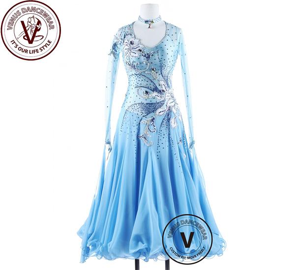 ■ヴィーナスダンスウェア(VENUS DANCEWEAR)エーデルワイスブルー ボールルーム コンクール ダンスドレス・■(社交ダンス 衣装 ウェア ドレス トップス スカート シューズ ダンス トップス 服 パンツ ドレス)
