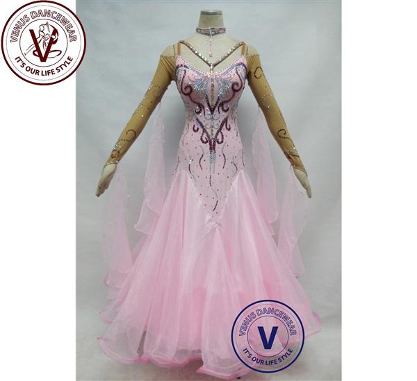 ■ヴィーナスダンスウェア(VENUS DANCEWEAR)ピンク ボールルーム 競技用ダンスドレス・■(社交ダンス 衣装 ウェア ドレス トップス スカート シューズ ダンス トップス 服 パンツ ドレス)