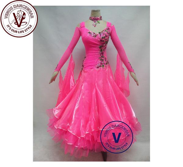 ■ヴィーナスダンスウェア(VENUS DANCEWEAR)ホットピンク コンクール ボールルーム ダンスドレス・■(社交ダンス 衣装 ウェア ドレス トップス スカート シューズ ダンス トップス 服 パンツ ドレス)