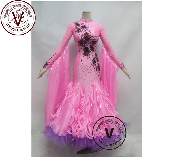 ■ヴィーナスダンスウェア(VENUS DANCEWEAR)ライトピンク コンクール ボールルーム ダンスドレス・■(社交ダンス 衣装 ウェア ドレス トップス スカート シューズ ダンス トップス 服 パンツ ドレス)