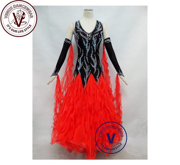 ■ヴィーナスダンスウェア(VENUS DANCEWEAR)赤色 競技用 ボールルーム ダンスドレス・■(社交ダンス 衣装 ウェア ドレス トップス スカート シューズ ダンス トップス 服 パンツ ドレス)