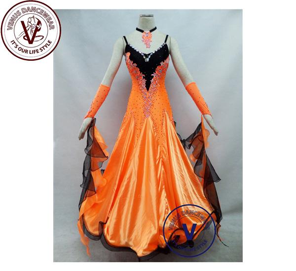 ■ヴィーナスダンスウェア(VENUS DANCEWEAR)オレンジ色 競技用 ボールルーム ダンスドレス・■(社交ダンス 衣装 ウェア ドレス トップス スカート シューズ ダンス トップス 服 パンツ ドレス)