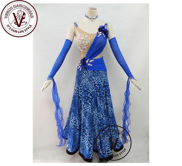 ■ヴィーナスダンスウェア(VENUS DANCEWEAR)青色 競技用 ボールルーム ダンスドレス・■(社交ダンス 衣装 ウェア ドレス トップス スカート シューズ ダンス トップス 服 パンツ ドレス)