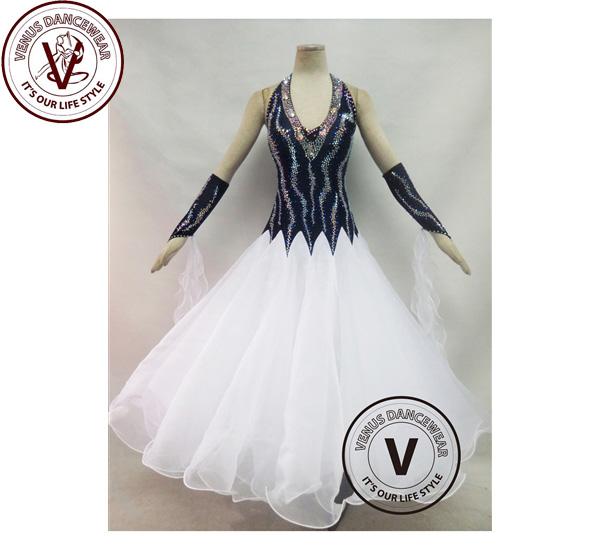 ■ヴィーナスダンスウェア(VENUS DANCEWEAR)白色 競技用 ボールルーム ダンスドレス・■(社交ダンス 衣装 ウェア ドレス トップス スカート シューズ ダンス トップス 服 パンツ ドレス)