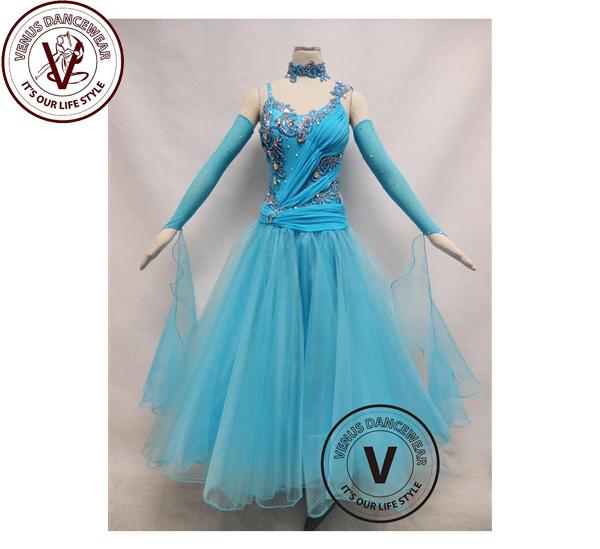 ■ヴィーナスダンスウェア(VENUS DANCEWEAR)ライトブルーコンペティション ボールルーム ダンスドレス・■(社交ダンス 衣装 ウェア ドレス トップス スカート シューズ ダンス トップス 服 パンツ ドレス)