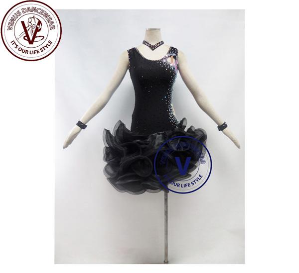 ■ヴィーナスダンスウェア(VENUS DANCEWEAR)黒色 競技用ラテンダンスドレス・■(社交ダンス 衣装 ウェア ドレス トップス スカート シューズ ダンス トップス 服 パンツ ドレス)