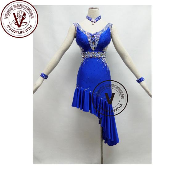■ヴィーナスダンスウェア(VENUS DANCEWEAR)ロイヤルブルーコンペティションラテンリズムダンスドレス・■(社交ダンス 衣装 ウェア ドレス トップス スカート シューズ ダンス トップス 服 パンツ ドレス)