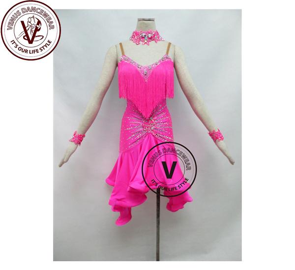 ■ヴィーナスダンスウェア(VENUS DANCEWEAR)ピンクフリンジ競技用ラテンリズムダンスドレス・■(社交ダンス 衣装 ウェア ドレス トップス スカート シューズ ダンス トップス 服 パンツ ドレス)